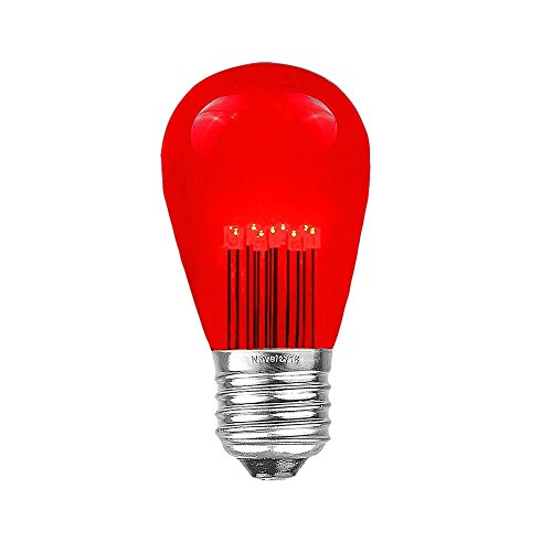 (Novelty Lights 5 Pack LED S14 Outdoor Patio Edison Replacement Bulbs, Red, E26 Medium Base, 1 Watt)