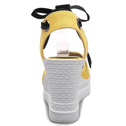 DecoStain Buckle Sandals Ankle Leisure Wedges Prom Strap yellow Sandals 9cm Platform Party Women's HXwrRqWH