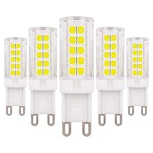 G9 Dimmable LED Bulb 6W White 6500K 60W Halogen Bulb Replacement, 220V – 240V, 5-Pack