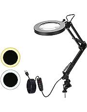 Camidy LED-förstoringsglas lampa 5 x skrivbordsklämma förstoringsglas lampa med justerbar vridbar arm 2 ljusläge upplyst USB-förstoringslampa för läsning hantverk arbetsbänk