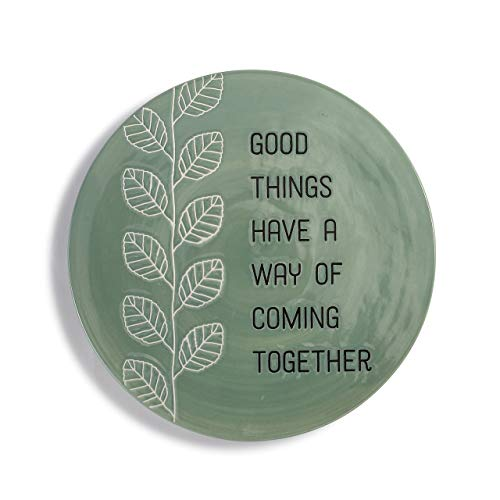 Good Things Have A Way Olive Green Leaf 9 x 9 Ceramic Stoneware Serving Trivet