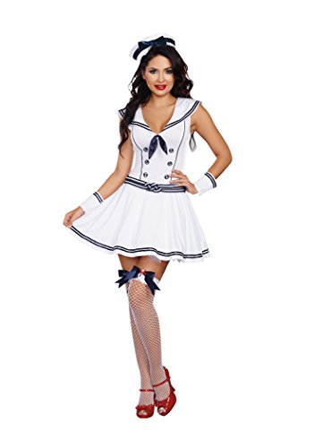 Dreamgirl Women's Boat Rockin' Babe Costume, Blue/White, Medium