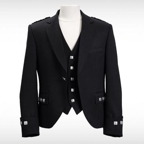 Negro Argyll para hombre abrigo chaqueta con chaleco 100% brathea lana oficial escocés Highland Wear Azul azul: Amazon.es: Ropa y accesorios
