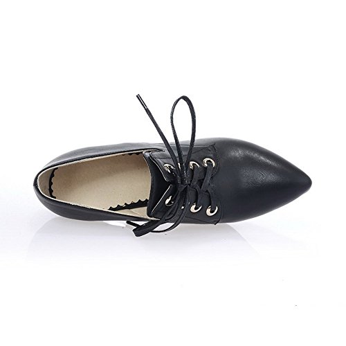 BalaMasa Ladies Lace-Up Solid Imitated Leather Pumps-Shoes Black axOVpq1s