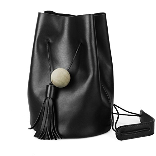 Hers Buckets - UER Women's Trend Fashion Handcrafted Cow Leather Bucket Should Bag with Tassels Ornament (Black)