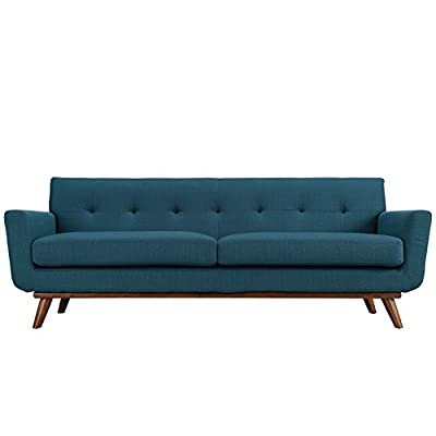 Modway Engage Mid-Century Modern Upholstered Fabric Sofa in Azure - CONTEMPORARY STYLE - The roomy depth and iconic look of Engage showcase mid-century modern design. Boasting tailored lines and a hopeful style, this piece embodies retro intrigue and sophistication. FINE UPHOLSTERY - Upholstered in quality polyester fabric, Engage emboldens décor with a design worth remembering. This distinctive collection makes for a striking statement brimming with possibility. MODERN LOUNGE SPOT - A preferred seat for lounge spaces of all types, Engage offers a supportive place to rest while delving deep into conversation or sipping a steaming cup of tea or coffee. - sofas-couches, living-room-furniture, living-room - 41Yd0Q8VssL. SS400  -