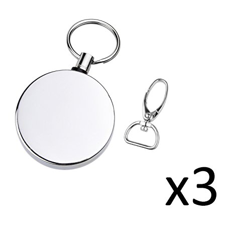 Kare and Kind Heavy Duty retractable Reel with Belt Clip, 40 inch steel cord, Chrome Metal case, Belt Loop Clasp & Key Ring, Clasps Swivel clips for Key/ID Badge (3PCS)