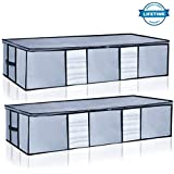 Underbed Storage Bags Organizer Container[2Pack] with Strengthened Handles and Enhanced Zipper, Large Space Saver Comforters Foldable Storage Bags Breathable with Clear Window for Blankets Clothes