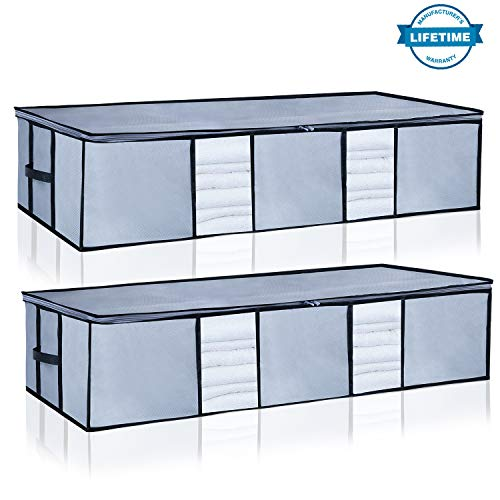 Underbed Storage Bags Organizer Container[2Pack] with Strengthened Handles and Enhanced Zipper, Large Space Saver Comforters Foldable Storage Bags Breathable with Clear Window for Blankets Clothes - Large Underbed Storage