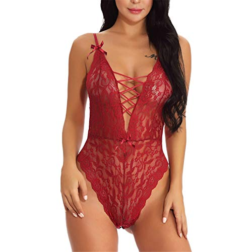 742b46b60c8 CofeeMO Lace Hollow Out Deep V Strappy Bodysuit Sleepwear Lingerie for Women ,Sexy One-