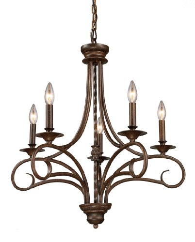 Art Elk Chandelier Deco (Elk 15042/5 Gloucester 5-Light Chandelier In Antique Bronze)