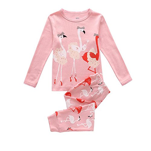 Little Girls Flamingos Pajamas Sets Toddler Long Sleeve Leggings Outfits 100% Cotton Clothing 2 Piece For Kids 2 4 6 T