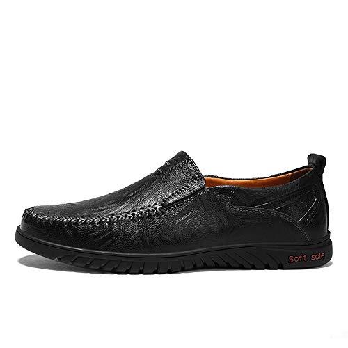 Men Genuine Leather Shoes Fashion Slip On Shoes for Men Leather Men Loafers Luxury Men Shoes(Black 1 Lable 38/5.5 D(M) US ()