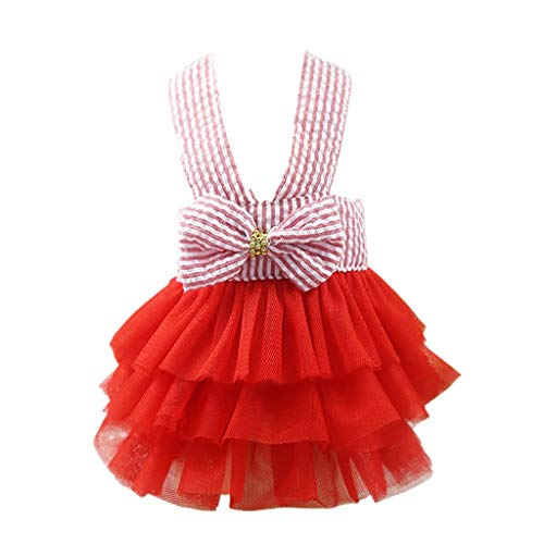 Dog Dress Laimeng_World Bubble Skirt Stripe Lace Dress Dog Dress Princess Dresses for Dog Puppy Party Dress ()