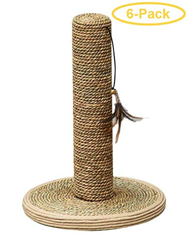 PetPals Seagrass Scrratching Post with Feather Toy 15'' Tall x 10'' Diameter - Pack of 6
