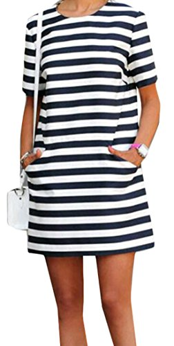 Slim striped short-sleeved dress - 6