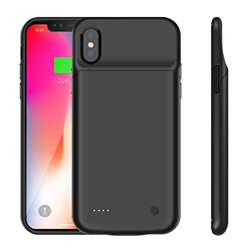 iPhone X Battery Case,3200mAh Slim Extend Portable Battery Pack Charger Case,Rechargeable Wireless Power Bank Charging Case for iPhone X/iPhone 10-Black