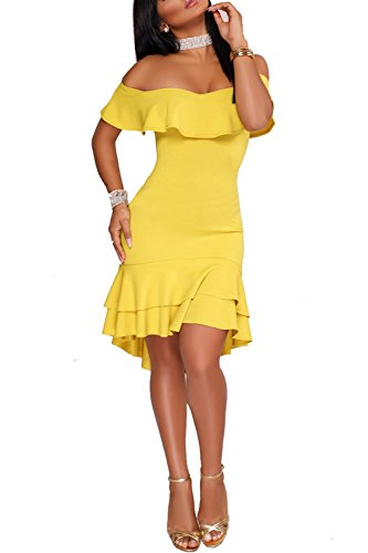 fles Off Shoulder Fitted Club Party Cocktail Bodycon Midi Dress 2XL Yellow 2# ()
