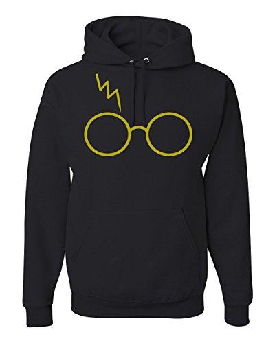 Gold Harry Potter Glasses Scar Unisex Hooded Sweatshirt Fashion Hoodie ( Black , Medium )