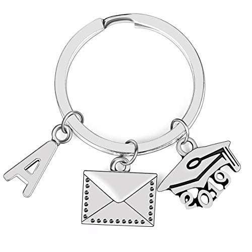 YOUMIYA 2019 Graduation Gift Graduation Cap Key Chain with 26 Letters Name SymbolA-Z Unique Gift