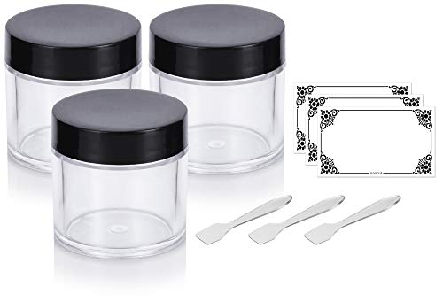 Clear Thick Wall Acrylic Travel Refillable Pot Container Jar - 1 oz / 30 ml (3 pack) + Spatulas and Labels for Samples, Balms, Makeup and Cosmetics, Salves, Airtight and BPA Free