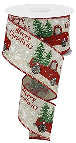 Christmas Wired Ribbon (Christmas Vintage Truck Wired Burlap Ribbon : Red Green Brown 2.5