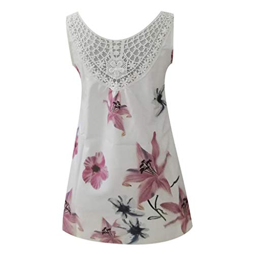 CapsA Tank Tops Women Sleeveless Floral Print T Shirt Graphic Funny Vest Round Neck Back Lace Tees White
