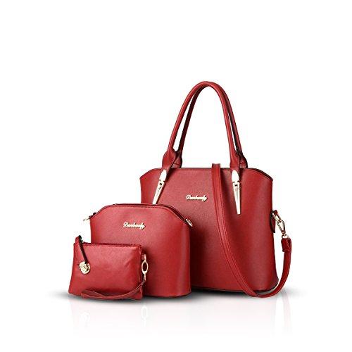Compuesta De Bolso De amp; Moda Rojo Nueva De Doris Bolsa Nicole Hombro Piezas Tres IqFpPBB