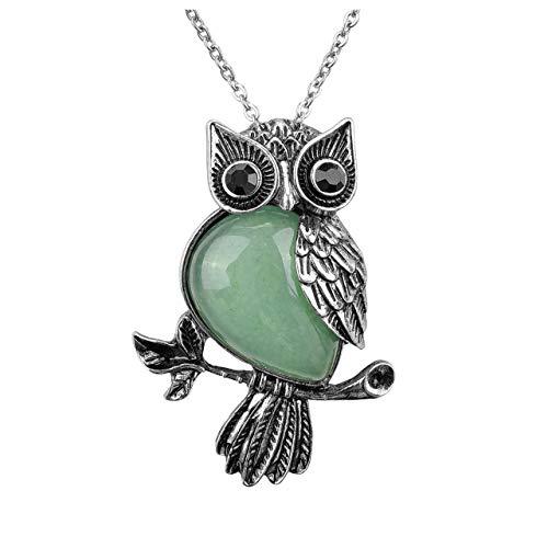 Top Plaza Owl Gifts Healing Crystal Stone Pendant Nekclace Green Aventurine Reiki Spiritual Energy Gemstone Quartz Necklaces for Women Men