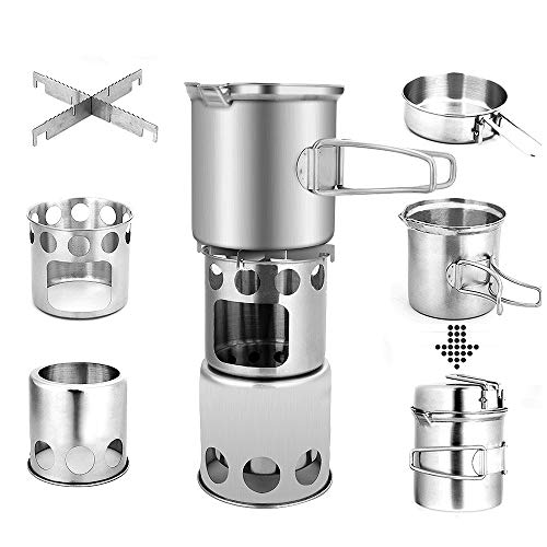 ADSRO Camping Wood Stove Stainless Steel Stove Cookware Set Woodburning Backpacking Stove Great for Backpacking, Camping, Survival, Hiking Travel and Survival