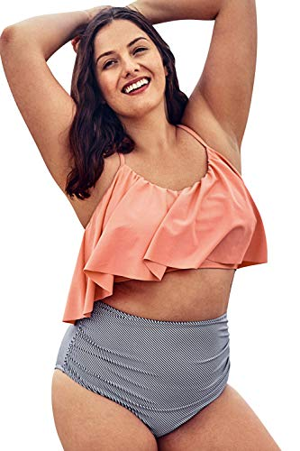CUPSHE Women's Plus Size Bikini Set Pink Ruffled High Waisted Swimsuit, 2X