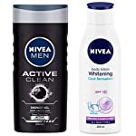 NIVEA Men Shower Gel, Active Clean Body Wash, Men, 250ml And NIVEA Body Lotion, Whitening Cool Sensation, SPF 15, For…