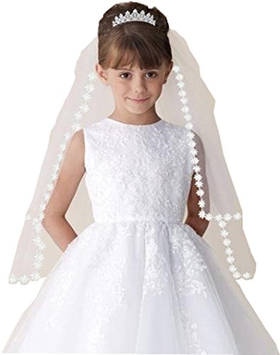 Shop Ginger Wedding Girls 2T White Holy First Communion Veil Tiara Lace Edge (With Tiara)