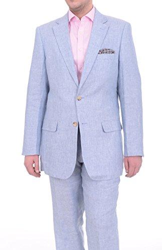 Fit Light Blue Heather Half Lined Two Button Linen Suit (Blue Linen Suit)