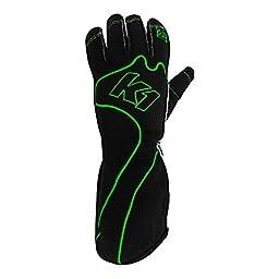K1 Race Gear RS1 Reverse Stitch Kart Racing Gloves (Green/Black, Large)