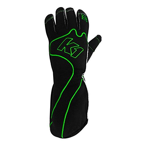 K1 Race Gear RS1 Reverse Stitch Kart Racing Gloves (Green/Black, X-Small)
