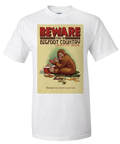 Lincoln City, Oregon - Bigfoot Country - Don't Store Food in Tent (White T-Shirt - Stores Lincoln City Oregon In