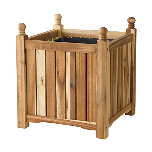 DMC Products Lexington 16-Inch Square Solid Wood Planter, Natural