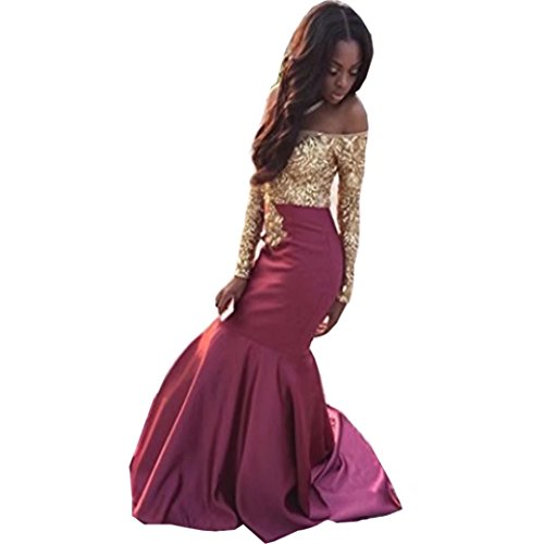 Chady Lace Gold Appliques Mermaid Prom Dresses 2018 Off Shoulder Long Sleeves Burgundy Evening Dresses - Mail Delivery Next Us Day
