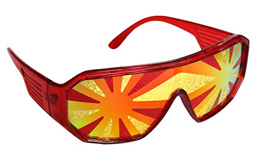 Rasslor Kansas City Red and Gold Star Burst Shield - Star Sunglasses Red
