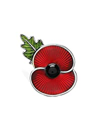 Poppy Brooches Red Flower Enamel and Leaf Brooch Badges Banquet Poppy Lapel Pin Remembrance Day Gift