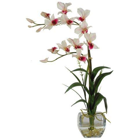 Wholesale White Dendrobium w/Glass Vase Silk Flower Arrangement, [Decor, Silk Flowers] ()