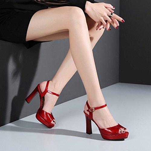 Sposa Abito Rosso Piattaforma Delle Rosso Alla Scarpe Da Toe Slingback Sposa Donne Spessi Peep Cinturino Caviglia Da Alti Sandali Talloni Fibbie axqaTwRC