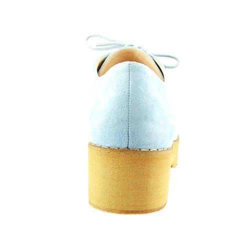 Angkorly - Scarpe da Moda scarpa derby zeppe donna finitura cuciture impunture Tacco a blocco 5 CM - Blu