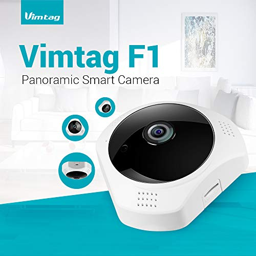 (Vimtag F1 Panoramic Smart Camera - 3MP - Night Vision - Smart Motion Detection - Cloud Storage - Multiple Viewing Options - Multi User View - 360 Degrees Viewing - Two-Way Audio)