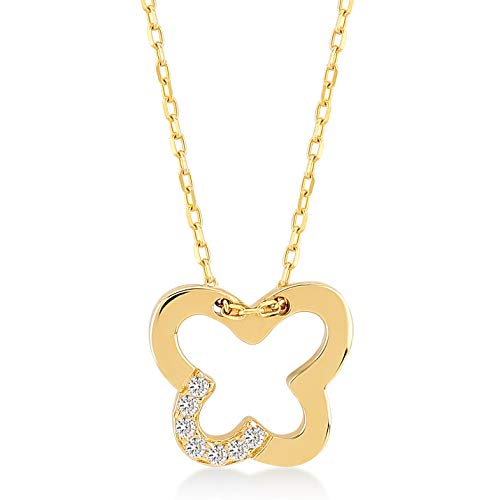 - 14k Solid Gold 0,02 ct Diamond Open Butterfly Pendant Necklace for Women, A Perfect Surprise Gift for Valentine's Day, 18 inch