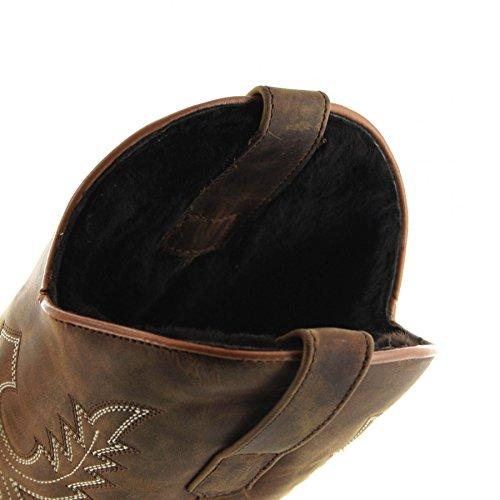 Sendra Støvler 11615 Gal Hund Tang Vestlige Ridestøvler Med Fåreskind Foring For Kvinder Og Mænd Brune Pels Støvler Tang 0wI2rj