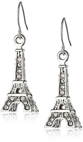 Betsey Johnson Women's Crystal Rhodium Eiffel Tower Drop Earrings Crystal Drop Earrings (Eiffel Ring Tower)
