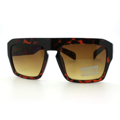 Futuristic Squared Rectangular Flat Top Thick Plastic Mobster Sunglasses - Glasses Mobster