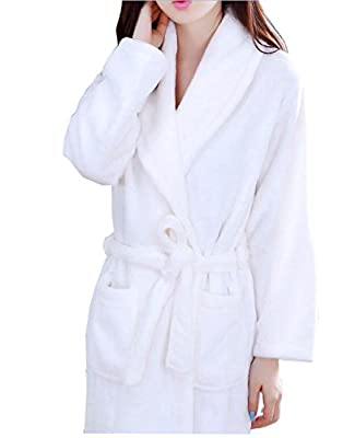 KM women solid color long-sleeve flannel bathrobe